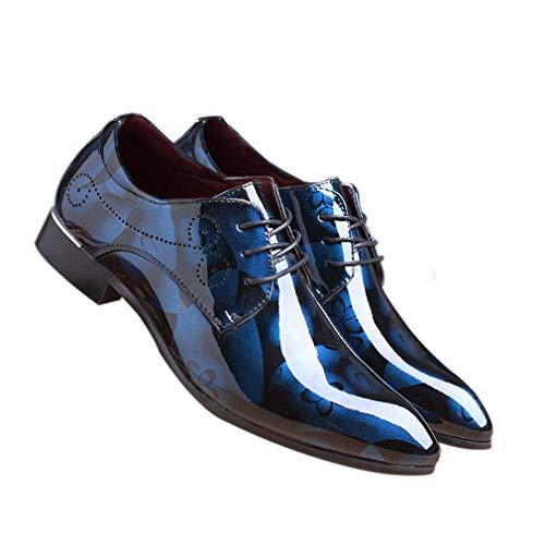 Hommes Hibote Lacets Bout Robe Flat Oxford Pour À En Bureau Vintage Floral Mariage Chaussures Bleu D'affaires Verni Pointu Derby La Casual Cuir Mode I1nWrI