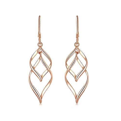 Tooffee 18K Gold Plated Womens Classic Double Linear Loops Design Twist Wave Earrings for Women Girls (Rose ()