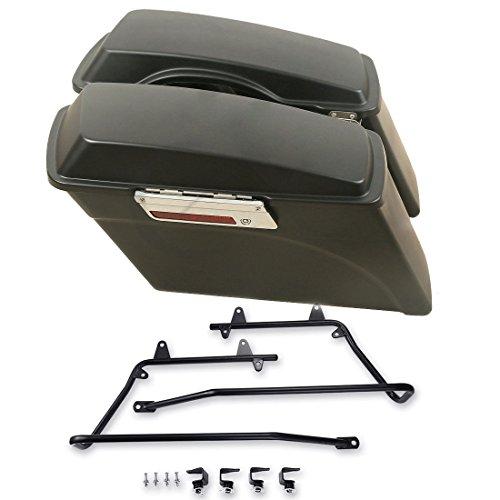 ASD Black Hard Saddle Bags Trunk Regular Size w/Saddlebag Conversion Mount Bracket For 1997-UP Harley Davidson Softail Fat Boy FXST