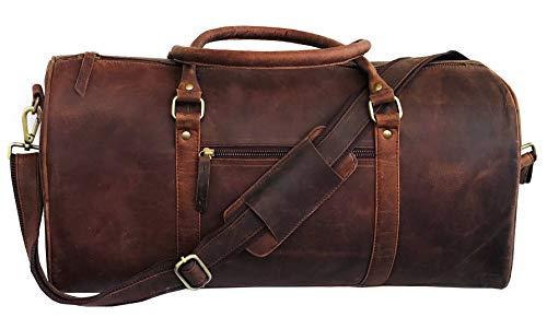 Vintage Duffle Vecchio Brown Leather Weekender Luggage Travel Bag (21