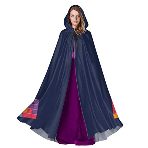 Color Game Three-Dimensional Block Russian Tetris Cute Hooded Cloak Kids Hooded Cloak Cape 59inch for Christmas Halloween Cosplay Costumes