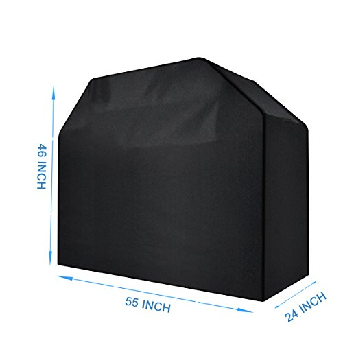 Bibowa 55Inch Premium Oxford Natural Gas Grill Covers Heavy Duty Waterproof patio outdoor Bbq Cover black for Weber Genesis,Charbroil,Kenmore,Charmglow, Brinkmann, Jennair, Uniflame,Other Model Grills