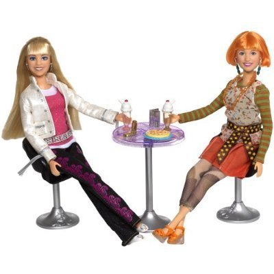 Hannah Montana Exclusive Pop Star Party Playset - Hannah and Lola with 2 Chairs, 1 Table, 1 Popstar Sampler CD Plus Lots of Other Accessories - Montana Pop