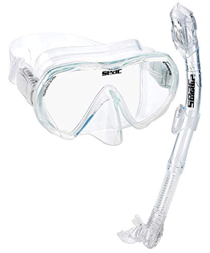 SEAC Frameless Snorkel Set for Men and Women | Comfortable Adjustable, Frameless Mask Made from Clear Tempered Glass | Dry Snorkel with Bottom Purge Valve | Snorkeling and Freediving Gear - Clear Easy Clear Nose Purge Mask