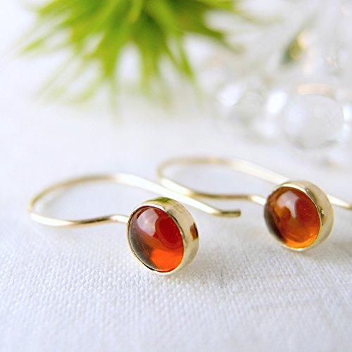 Fine Baltic Amber Earrings - Baltic Amber Earrings, 14k Solid Gold Hook Earrings