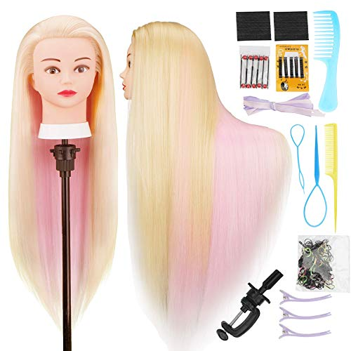 Cabeza  practica de peluqueria 75cm (2 colores C)+accesorios