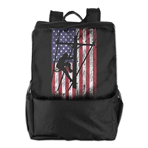 American Bookbag Laptop Women Lineman School Hgfdhfgjrfj Travel Men College Flag Backpack vw5aWq6