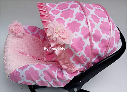 Rosy Kids Infant Carseat Canopy Cover 3 Pc Whole Caboodle Baby Car Seat Cover Kit Cotton C031200 (Cheetah Baby Car Seat Covers)