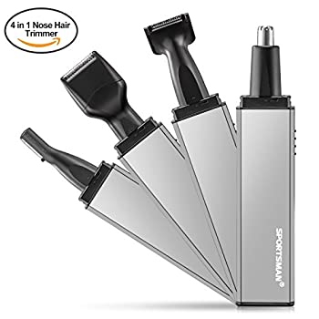 Nose Hair Trimmer, [Newest Design] 4 in 1 Rechargeable Nose Ear Hair Trimmer/Beard Trimmer/Sideburn Trimmer/Eyebrow Trimmer Stainless steel&Water Resistant with Precision Cutting&Wet/Dry System