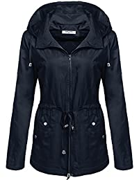 Womens Waterproof Lightweight Rain Jacket Anorak with Detachable Hood