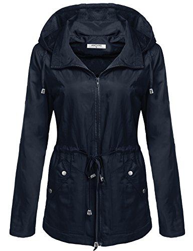 ANGVNS Women's Waterproof Lightweight Rain Jacket Anorak with Detachable Hood