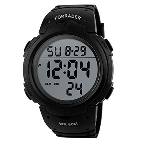 Forrader Men Outdoor Waterproof Screen Digital LED Sport Wrist Watches Stopwatch Chronograph -