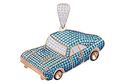 Natural White Diamond Blue Topaz Car Pendant