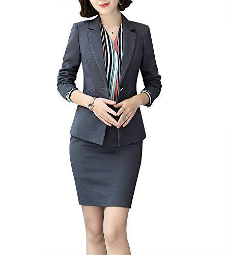 Women Two Pieces Blazers Work Office Lady Suit Business Blazer Jacket&Pant (Dark Grey, 2XL)