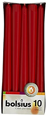 Bolsius RED Taper Candles 10 Pack Aprox 10 Inch (245x24 mm)