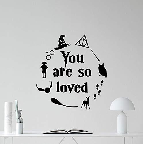 Harry Potter Wall Decal You are So Loved Quote Lettering Walt Disney Sign Gift Lettering Vinyl Sticker Print Art Playroom Design Kids Decor Nursery Poster Custom Mural 129bar