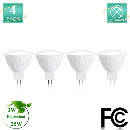(GU5.3 LED Light Bulbs with MR16 Bi-Pin Base 25 Watt Equivalent Halogen Bulbs Replacement Warm White 2700K 3Watt LED Spotlight with 300lumen 12Volt 120Degree Non dimmable(Pack of 4))