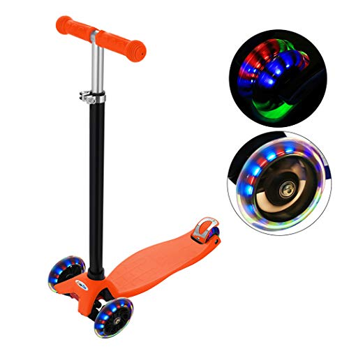 Adjustable Folding Alloy 3 Big Wheel Kick Scooter for Kids 2-14 Years, Adjustable Height with Handle T-Bar (Style 3: Orange) ()