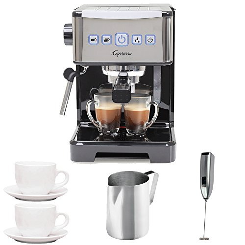 Capresso 12401 Ultima PRO Programmable Espresso and Cappuccino Machine with 2 Cup and Saucers (3 oz), Stainless Steel Frothing Pitcher and Handheld Milk Frother