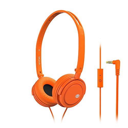 MQbix MQHT360ORG Palette Mini Lightweight Headphones with Built-In Mic, Orange