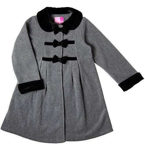 Good Lad Toddler and 4/6X Grils Grey Fleece Coat with Black Velvet Trim (5)