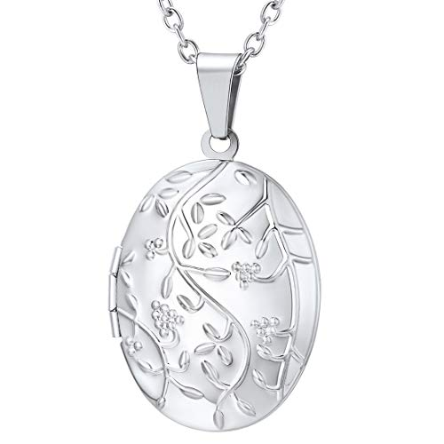 - U7 Locket Necklace That Holds Picture Oval/Round Shaped Flower Pattern Photo Lockets Pendant for Women Girls, Chain 22 Inch (E. Platinum Oval Flowering)