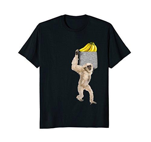 Gibbon Monkey - Gibbon Monkey Reaching For Banana In Fake Pocket T-Shirt