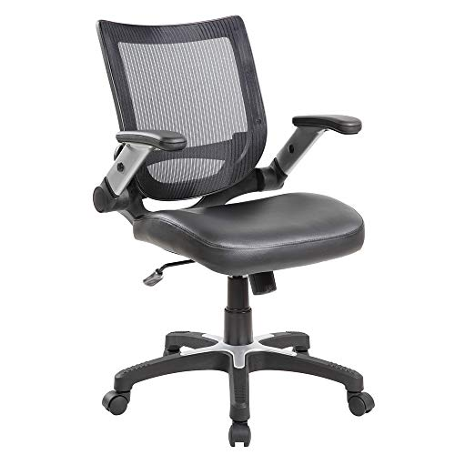 Leather Seat Ergonomic Chair - Eurostile Adjustable Office Desk Chair Mid-Back Erogonomic Swivel Computer Task Chair Mesh Back & Leather Seat with Flip-Up Arms,Black