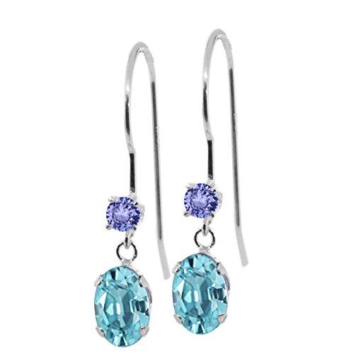 Ring Tanzanite 14k Oval Gold - Gem Stone King 1.66 Ct Oval Blue Zircon Blue Tanzanite 14K White Gold Earrings