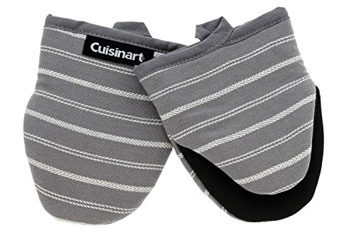 - Cuisinart Neoprene Mini Oven Mitts, 2 Pack - Heat Resistant Gloves Protect Hands and Surfaces - No Slip Grip - Hanging Loop - Ideal for Handling Hot Cookware/Bakeware Items - Twill Stripe Titan. Grey