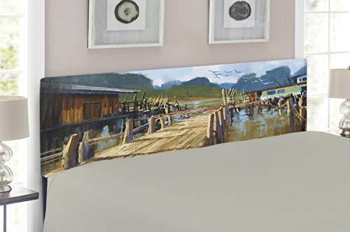 Lunarable Scenery Headboard for Queen Size Bed, Lake Bay Ocean River with Houses and Wooden Pier Oil Painting Style Artwork Image, Upholstered Decorative Metal Headboard with Memory Foam, Multicolor