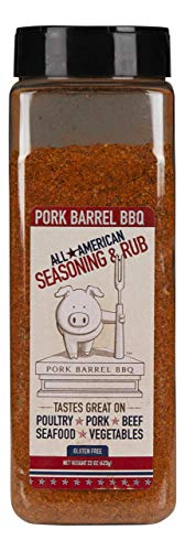 Smoked Pork Loin - Pork Barrel BBQ All American Seasoning Mix, Dry Rub Perfect for Chicken, Beef, Pork, Fish and More, Gluten Free, Preservative Free and MSG Free, 22 Ounce