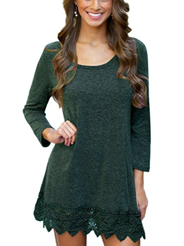 MiYang Women's Long Sleeve A-line Lace Stitching Trim Casual Dress L Green (Jewelry To Wear With Lace Wedding Dress)