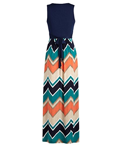 4c3e42be61c Zattcas Womens Contrast Sleeveless Empire Chevron Striped Maxi Long Dress
