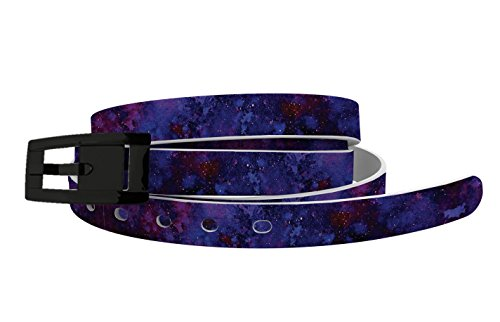 (Skinny Nebula Belt with Skinny Black Chrome Buckle - Fashion Belt for Women - Waist Belt - For Dresses or Active Lifestyle)