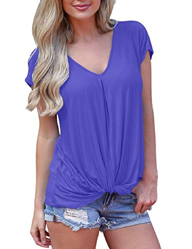 Casual Womens Tops Short Sleeve Twist Knot Shirts Solid Color V Neck Tshirts Crystal Blue M ()