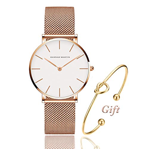 Women's Rose Gold Watch Analog Quartz and Pink Leather Band Casual Fashion Classic White Ladies Wrist - Gold Womens White Watch