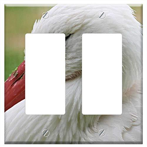 Switch Plate Double Rocker/GFCI - Stork Rattle Stork Bird Adebar Nature