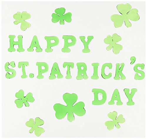 Beistle 33133 Happy St. Patrick's Day Gel Clings Sheet, 7-1/2 by 7-1/2-Inch