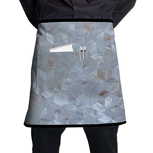YITOG Chef Waist Aprons Bib Diamond Pearl Mosaic Tile Men Women Professional Kitchen Cooking Half Apron with Pocket for Restaurant Grill Servers,Black