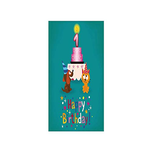 3D Decorative Film Privacy Window Film No Glue,1st Birthday Decorations,Toddler Party Cat and Dog with Hats Cake on Petrol Blue Backdrop,Multicolor,for Home&Office ()