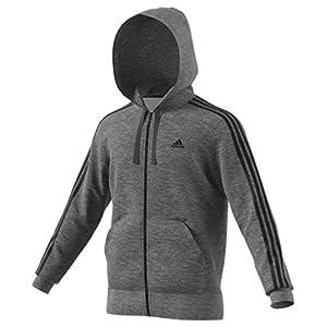adidas Men's Essentials 3 Stripe Full Zip Fleece Hoodie, Dark Grey Heather/Black, X Small