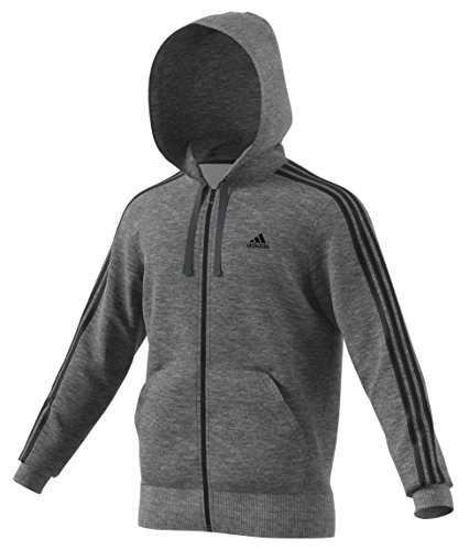 Full Zip 3 Stripes (adidas Men's Essentials 3-Stripe Full Zip Fleece Hoodie, Dark Grey Heather/Black, XX-Large)