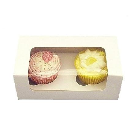 25 x blanco cajas para cupcakes – 2 agujeros