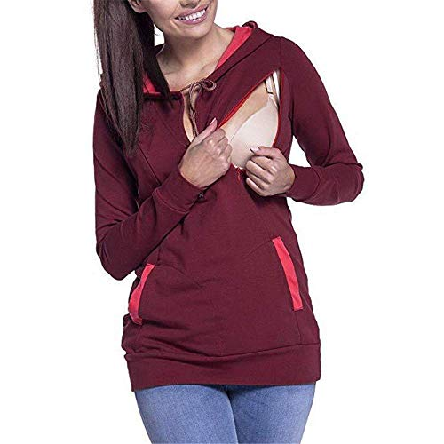 Donna Blouse V Fashion Maternity Incinta A Rot With Pullover Forh Abbigliamento Cappuccio Felpa Pocket Clothes Ladies Con Patchwork Collo xwwqfIgp