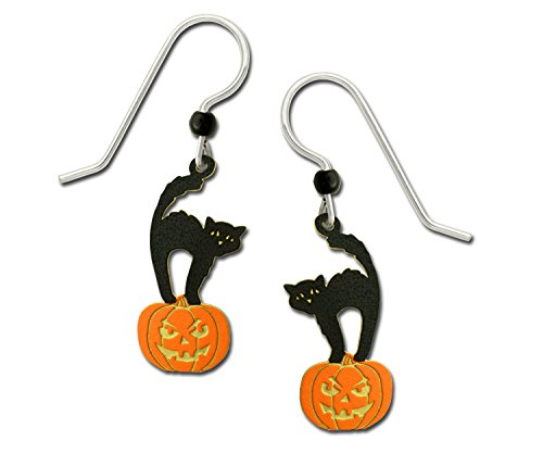 Hand Painted Halloween Pumpkins (Sienna Sky Halloween Black Cat Standing on Pumpkin Hand Painted Earrings with Gift Box Made in)