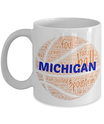 MICHIGAN WOLVERINES Basketball mug – coffee tea cup for college sports fan – ceramic team gift -- NCAA college basketball -- 11 ounce or 15 ounce white