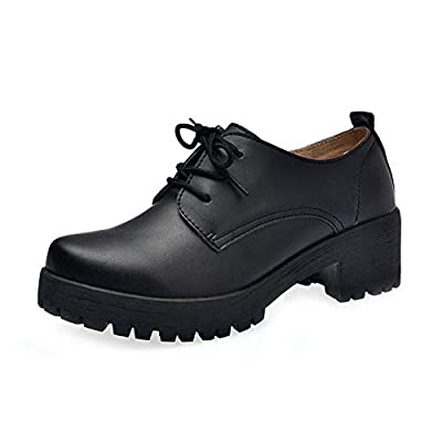 F-OXMY Women's Classic Lace Up Platform Mid-Heel Square Toe Oxfords Dress Shoes