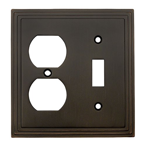 Cosmas 25068-ORB Oil Rubbed Bronze Single Toggle/Duplex Combo Electrical Outlet Wall Plate/Cover
