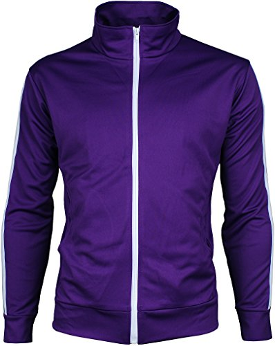 Angel Track Jacket (Angel Cola Men's Retro Stripes Full Zip-up Track Top Jacket Purple L)